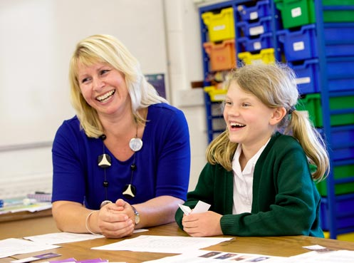 Headteacher and pupil at Chard school